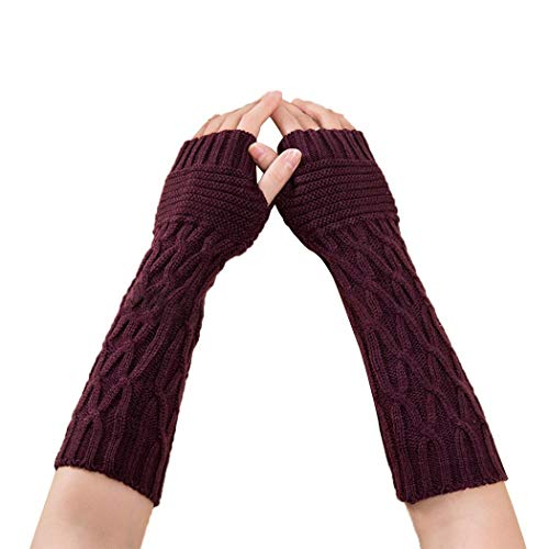 GuGio Womens Crochet Knit Fingerless Arm Warmers With Thumb Hole Super Long Winter Cold Weather Gloves Mittens