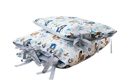 Set di biancheria da letto per bambini  Motivo Boho Bear grigio 100 x 135 cm copripiumino 40 x 60 cm federa | 2 pezzi 100% cotone con nastri (wiese-grey)