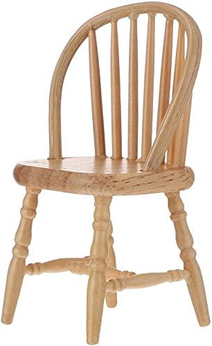 Casa de boneca Cadeiras de madeira Modelo de mobília em miniatura Mini cadeira de balanço inacabada Brinquedos para mesa de trabalho em casa Trabalho de cena de brincadeira