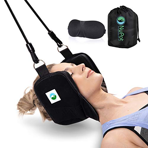 NyPot Premium Neck Hammock - Portable Cervical Traction Device for Neck Pain Relief Massager for Back and Shoulder Pain Neck Support and Stretcher Relaxation Gift for Mom and Dad with Eye Mask