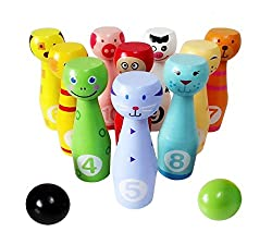 ENDLESS FUN - Coming with 2 pieces balls and 10 pins in various bright colours and different animals patterns, keep kids excited about getting active HELP FOCUS AND MATH SKILL - The bowling sport set keeps them focus and concentration, the pins featu...