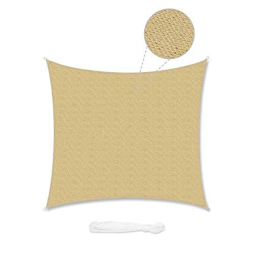 Sekey Toldo Vela de Sombra Cuadrada HDPE Protección Rayos UV Resistente Permeable Transpirable para Patio, Exteriores, Jardín, con Cuerda, Arena 2×2m