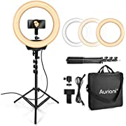 """Auriani Ring Light Kit 16"""" 3200K-5600k Color and Brightness Dimmable LED O Ring Light with Stand, Carrying Bag, Camera and Phone Holder for YouTube, Makeup, Vlogging, Self-Portrait Shooting, 110V-240V"""