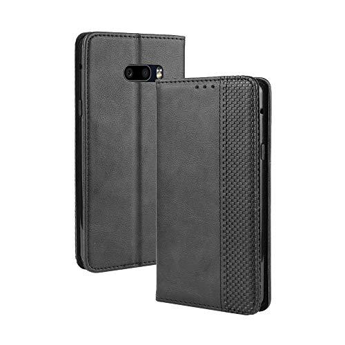 LAGUI Handyhülle für LG G8X ThinQ, Leder Flip Hülle Schutzhülle für Handy mit Kartenfach Stand & Magnet Funktion als Brieftasche Kompatible with LG G8X ThinQ, schwarz