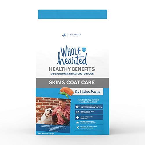 Alimento seco sin cereales para cuidado de la piel y abrigo, guisantes y salmón, para perros WholeHearted