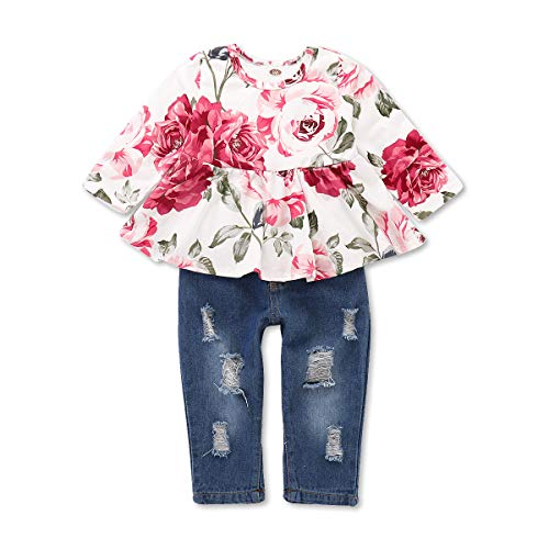 NZRVAWS Girl Clothes Outfits Infant Ruffle Long Sleeve Floral Shirt Tops+ Ripped Jeans for Girls...