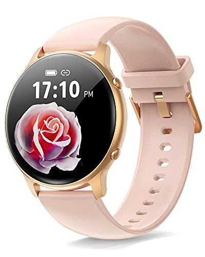 "ManiGoo Smartwatch, Reloj Inteligente Mujer, 1.28"" Full Touch, Reloj Inteligente con Pulsómetro, Reloj Digital Calorías Podómetro Impermeable IP67 para Android e iOS (Rosado)"