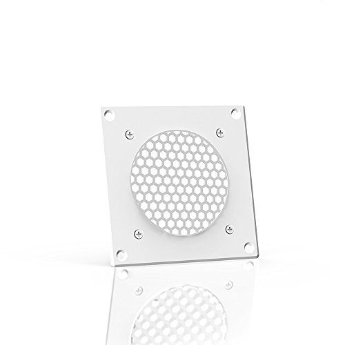 AC Infinity White Ventilation Grille 4', for PC Computer AV Electronic Cabinets, Replacement Grille for AIRPLATE S1, can Mount one 80mm Fan