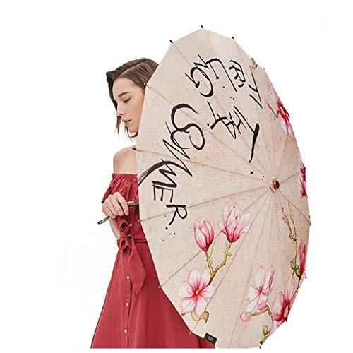 Sonnenschirm UV Schutz Sonnenschutz Regenschirm Chinesischer Wind Regenschirm Regenschirm Folding Männlich Weiblich Jiangnan Rauch Regen Serie Modern (Color : Magnolia)