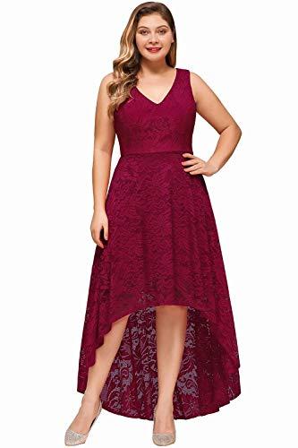 MisShow Abendkleid Gr 52 Übergrößen Aus Spitze Hi-Lo Stil Elegant Kleider