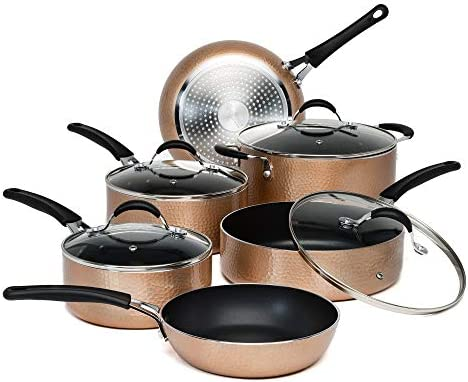 Ecolution Impressions Hammered Cookware Set Pots and Pans with Premium Multilayered Non Stick product image