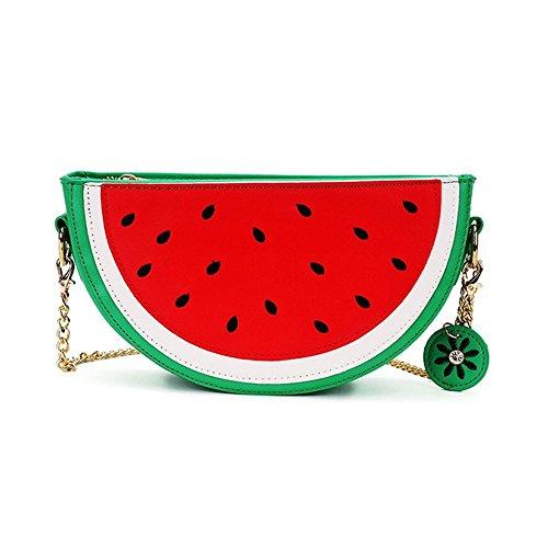FANCY LOVE Neueste Cute Lovely Wassermelone Zitrone Shaped Schulter Messenger Bag für Mädchen und Frauen (Wassermelone)