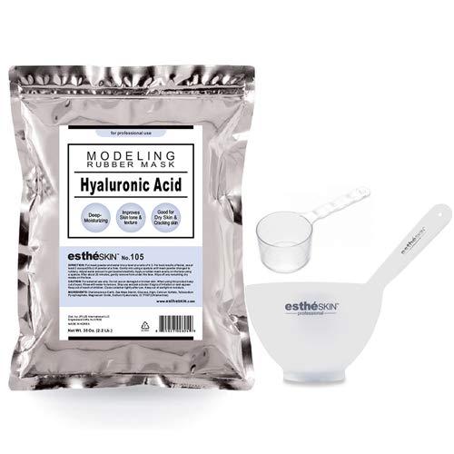 estheSKIN Peel Off Type Modeling Mask Powder for Facial, Skin Care, Professional Size, 35oz (2.2Pound) 1kg, 1 pack with 3pcs Mixing Bowl Set (105.Hyaluronic Acid)