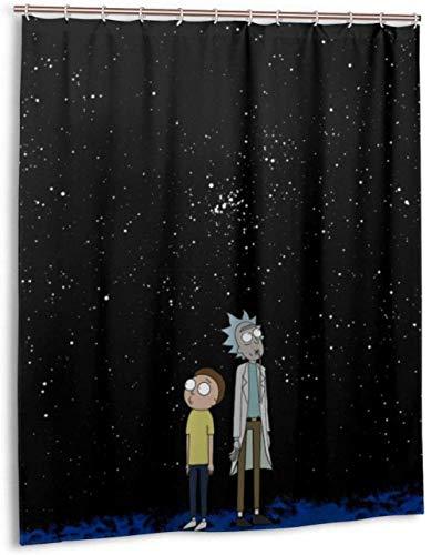 None brand Rick Morty Liner Wasserdichter Duschvorhang aus Polyestergewebe-180 x 180 cm
