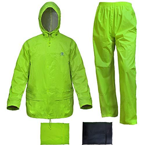RainRider Rain Suit for Men Women Hi-Vis Yellow Rain Gear Jacket with Pants 3-Piece Portable(Fluorescence,XX-Large)