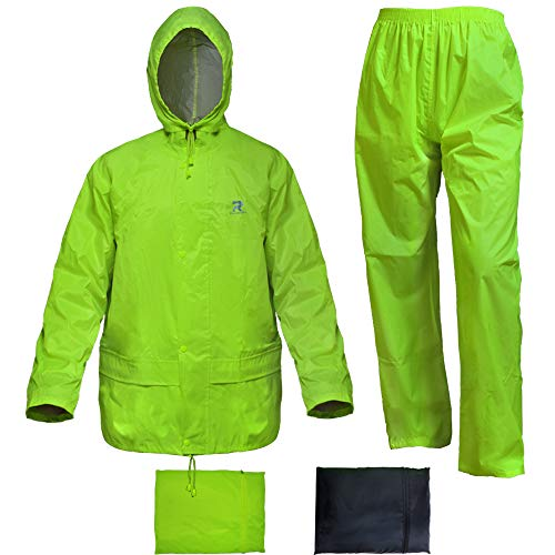 Rain Suit for Men Women Hi-Vis Yellow Rain Gear Jacket with Pants 3-Piece Portable(Fluorescence,XX-Large)