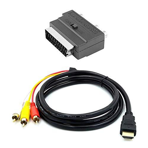 Jaimenalin Cable a 3RCA 1.5M con Cabezal Scart Cable a AV Chapado en Oro Cable a Tres Colores Cable de Audio