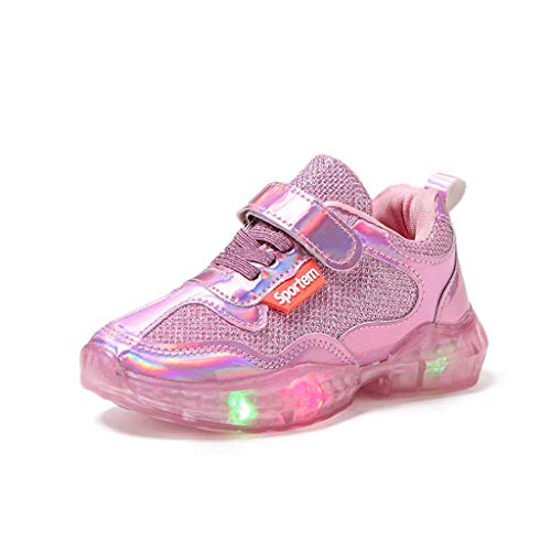 99native LED Kinder Baby Mädchen Jungen Unisex Kinderschuhe Brief Sport Run Turnschuhe Freizeitschuhe Leuchtende Hallenschuhe Leuchtschuhe Mode Sneaker Freizeit Schuhe Atmungsaktive (25 EU, Pink)