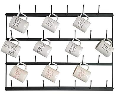 "Claimed Corner Horizontal Wall Mug Rack - Large Wall Mounted Storage Display Organizer Rack for Coffee Mugs, Tea Cups, Mason Jars, and More. (33"" x 23.5"") by Claimed Corner"