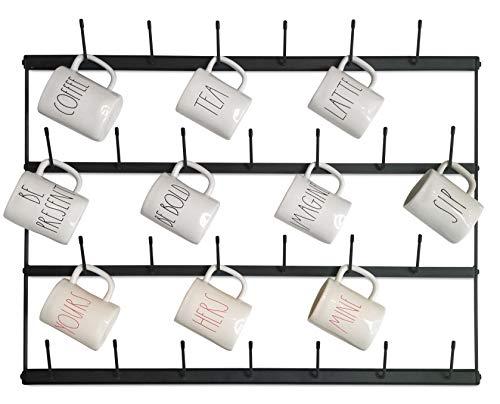 Horizontal Wall Mug Rack - Large Wall Mounted Storage Display Organizer Rack for Coffee Mugs, Tea Cups, Mason Jars, and More. (34