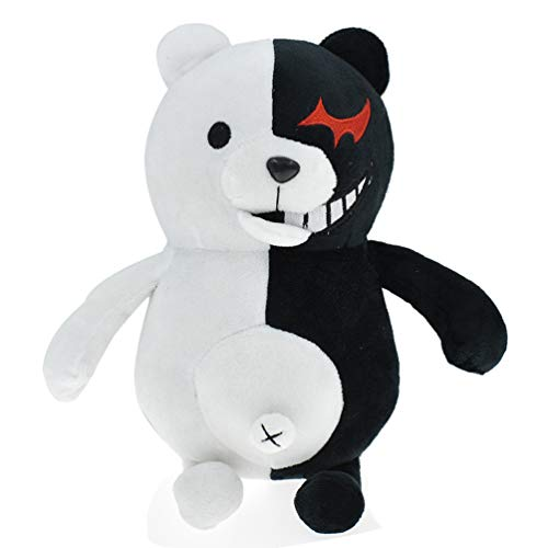 KOZOREN Monokuma Plush Black White Bear Stuffed Plush Doll Toy 9.84 inches