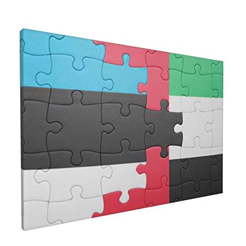 Cuadro sobre lienzo para pared, bandera nacional de los Emiratos Árabes Unidos y Estonia, rompecabezas conceptual, obra de arte decorativa moderna sin marco, 30X45 CM
