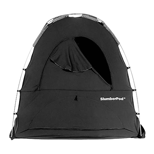 SlumberPod Portable Privacy Pod Blackout Canopy Sleeping Space for Age 4 Months and Up with Monitor Pouch and Zippered Window, Black and Gray