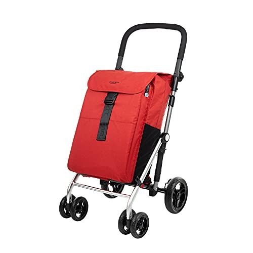 Carlett Carro de la Compra 4 Ruedas   Lett470 CLASSIC family   Carrito Plegable de Gran Capacidad, 32kg, Bolsa Principal 64L, Térmica 10,5L y Bolsillo Posterior, Rojo Ruby