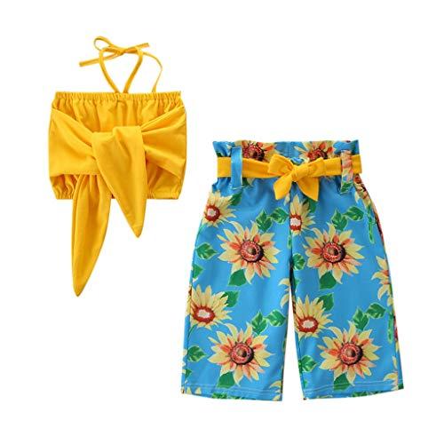 Zegeey Baby MäDchen Outfits Bekleidungssets Shirt Tops Tee Blusen Drucken Hosen Set Geburtstag Geschenk AnzüGe(G1-Gelb,80-90cm)