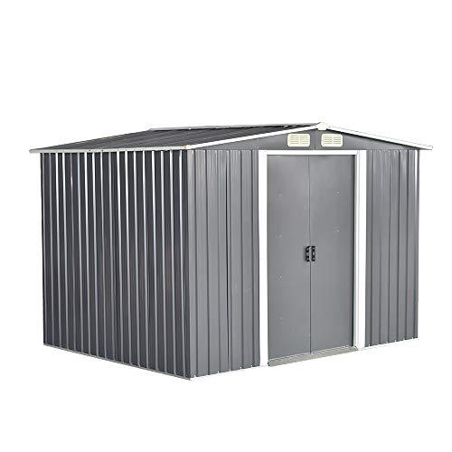 Garden Sheds Tool Storage House Metal Garden Apex Roof Storage Shed (Grey, 8x6)