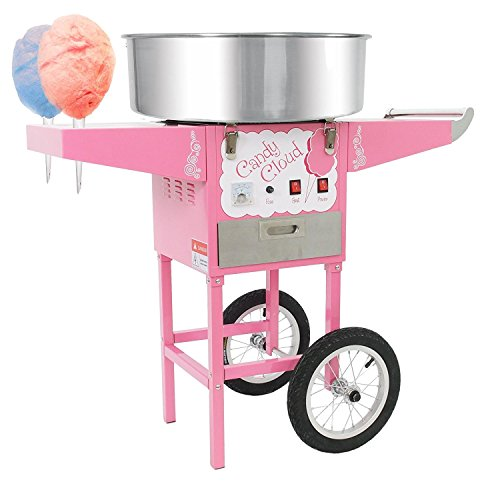 Funtime FT1000CCP Candy Cloud Cotton Candy Machine with Mobile Wheeled Cart, Pink