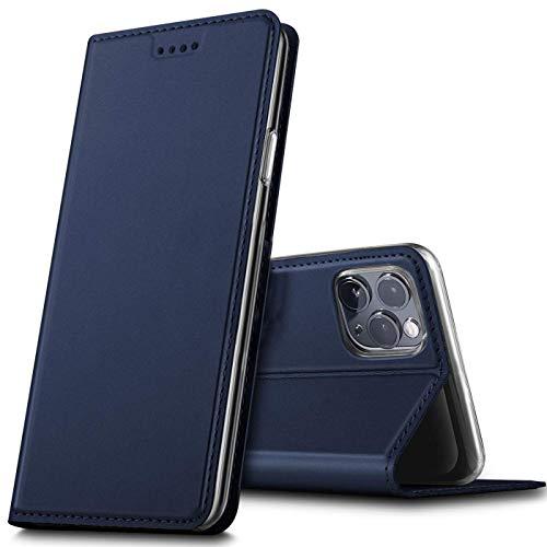 Verco Handyhülle für iPhone 12, iPhone 12 Pro Hülle Premium Handy Flip Cover für Apple iPhone 12 Pro / 12 Hülle [6.1 Zoll] [integr. Magnet] Book Hülle PU Leder Tasche, Blau