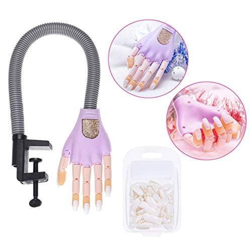 MARBER Einstellbare Nail art Modell Hand Praxis DIY Trainer Hand Maniküre Modell Gefälschte Hand mit 100 stücke Gleiche Größe Gefälschte Nägel Für Nail art Praxis (Trainer Hand-2)