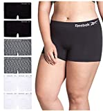 Reebok Women Plus Size Seamless Boyshort Panties Underwear (6 Pack), Size 1X-Large, Space Dye/White/Black