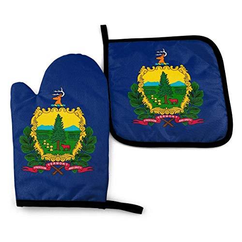 shenguang Vermont VT State Flags Hitzebeständige Ofenhandschuhe und Topflappen für küchenweiches Baumwollfutter mit rutschfester Oberfläche für sicheres Grillen Kochen Backen Grillen, maschi