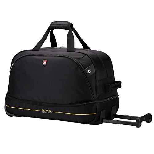 OIWAS Overnight Bag Small Holdall Sports Bag with Wheels Travel Duffle Weekend Roller Case Expandable Wheeled Bag 45L to 55L for Women and Men Black
