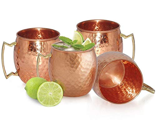 Chef's Star Set of 4 Handmade Hammered Copper Moscow Mule Mug - 100% Pure Copper with Brass Handle - Hammered Moscow Mule Mug Cup 18OZ