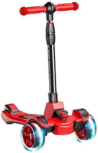 JSL Patinete de 3 ruedas para niños y niñas, altura ajustable, inclinado para dirigir, ruedas de luz extra anchas para niños de 3 a 15 años, color rojo