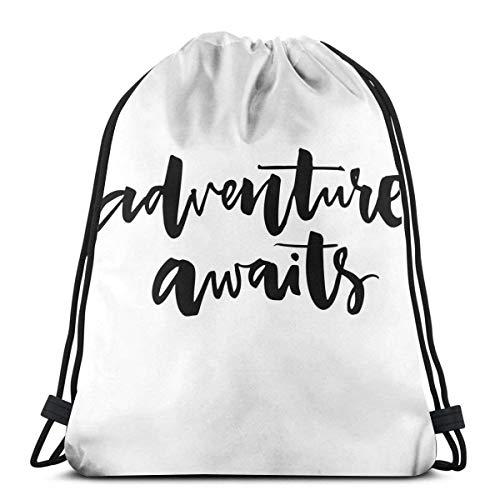 Mochilas con cordón Impresas Mochilas, Cita inspiradora sobre la Vida y la Aventura de Viaje Nunca se Detiene Tema del Viaje, Cierre de Cuerda Ajustable