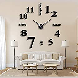 New 3D DIY Mirror Surface Wall Clocks Modern Design Living Room Decorative Wall Watches … (Black)