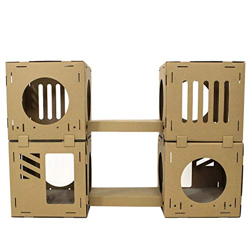 Midlee Cardboard Cat Climbing House Furniture- 2 Tower w/Scratching Pads
