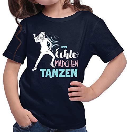 HARIZ Mädchen T-Shirt Echte Mädchen Tanzen Sportlich Plus Geschenkkarten Deep Navy Blau 128/7-8 Jahre