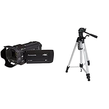 PANASONIC HC-VX981K 4K Camcorder 20X LEICA DICOMAR Lens WiFi Smartphone Twin Video Capture  USA Black  and Lightweight Tripod with Bag