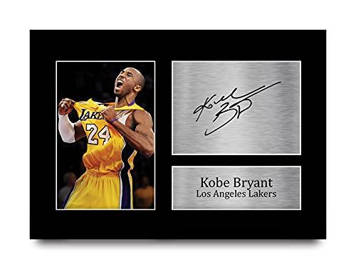 HWC Trading Kobe Bryant A4 Sin Marco Regalo De Visualización De Fotos De Impresión De Imagen Impresa Autógrafo Firmado por Los Angeles Lakers Los Aficionados Al Cine