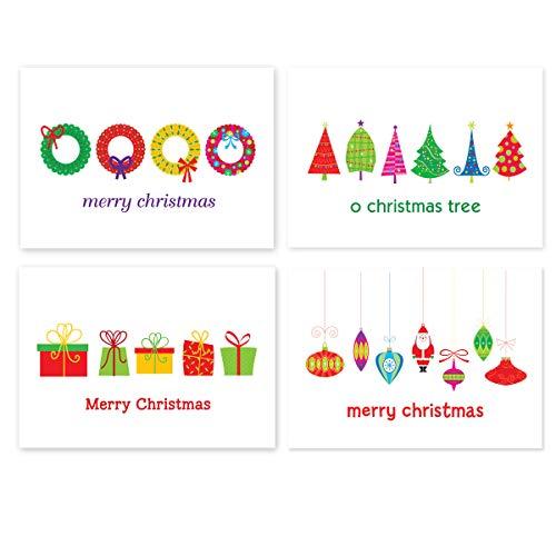 Assorted Christmas Postcards - 4 Fun Holiday Designs - 4' x 6' Assorted Merry Christmas Postcards