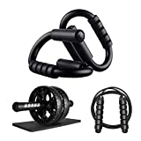Push Up Bars,FUFEN Push Up Handles 4-in-1,Have Push Up Handles for Floor,Ab Roller Wheel,Jump Rope,Knee Pads,The Perfect Home Fitness Combination.