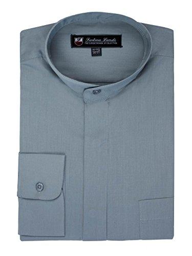 FORTINO LANDI Men's Long-Sleeve Banded Collar Shirt - Grey Large(16-16.5 Neck) Sleeve 34/35