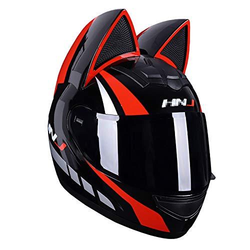 JJXD Full-Face Motorcycle Helmet, Adult Flip Visor with Cat Ears Modular Off-Road Motorcycle Helmet, ATV Motorcycle Mountain Bike Helmet DOT Certification,XL