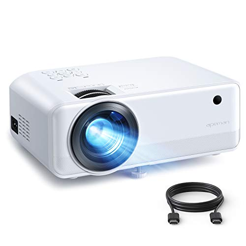 Projector, APEMAN 5000 Lumen 1080P Supported Mini Projector, 200'' Display 50000 Hrs LED Life, Dual Speakers Portable Projector, Compatible with HDMI, USB, VGA, TF, PS4, Laptop, DVD for Home Cinema
