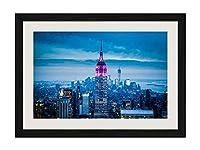 アメリカ、ニューヨーク市、高層ビル、エンパイアステートビル、夜間、ライト - アートプリント黒木製フレームフレームポスター家の装飾(40x30cm)